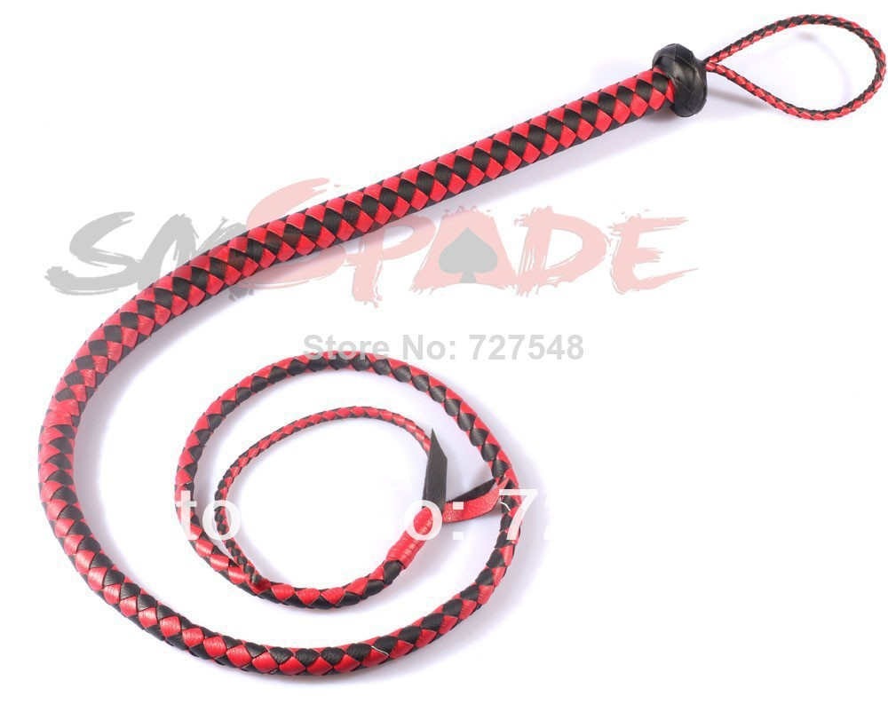 5% off 1.65m PU faux leather handmade bull whip adult sex product flirting sex toys horse flogger whip all black