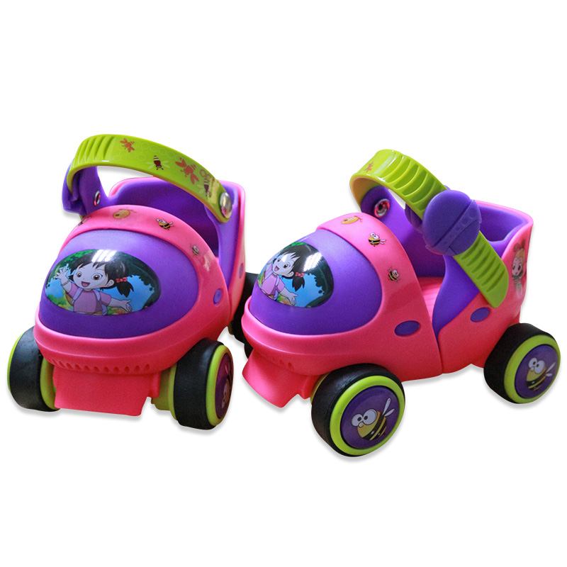 Adjustable Children Roller Skates With Safety Off Button Resistance Material 2 Colors Double Row 4 Wheels Skating ShoesAdjustable Children Roller Skates With Safety Off Button Resistance Material 2 Colors Double Row 4 Wheels Skating Shoes