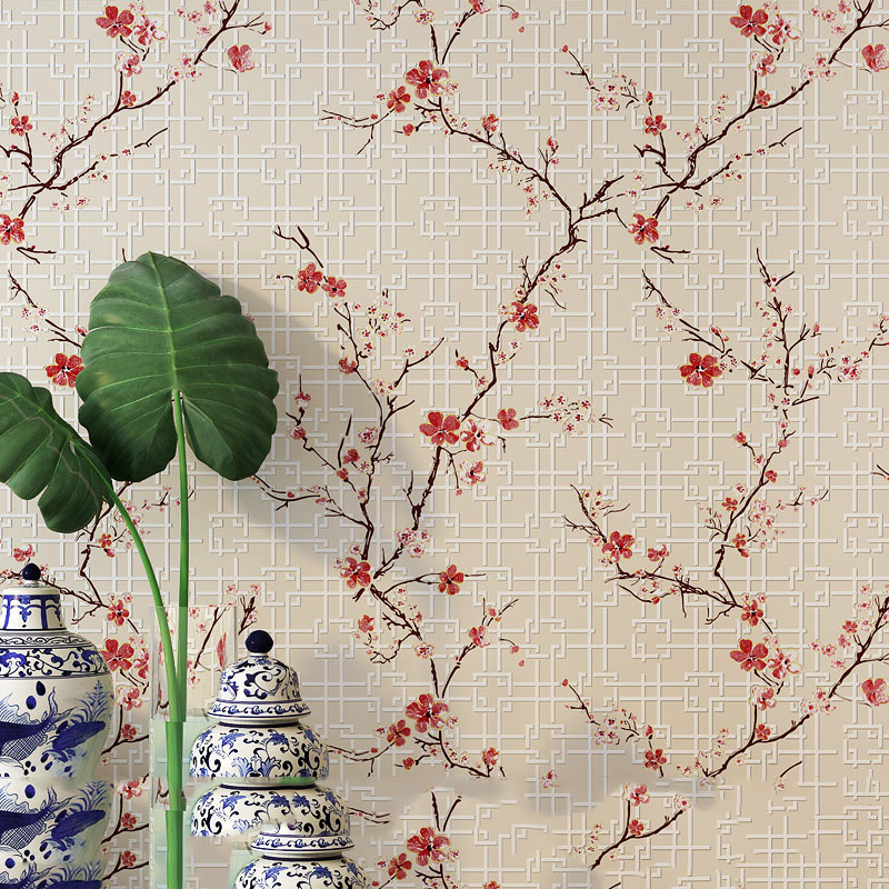 все цены на Chinese Wall mural Modern Art  High Quality Plum Blossom Wallpapers 3d for Living Room TV Backdrop Photo Wall Paper Red Purple онлайн