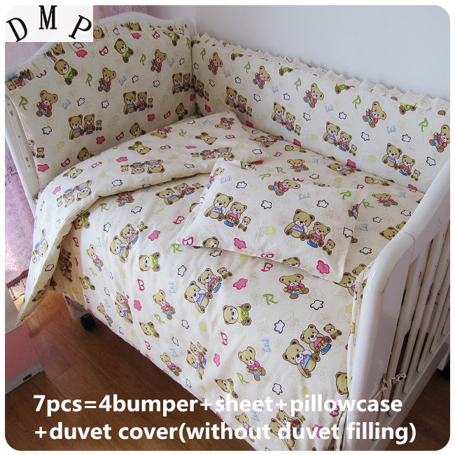 Promotion! 6/7PCS Baby Bedding Set Embroidery Baby Crib Bedding Set,duvet Cover,120*60/120*70cm