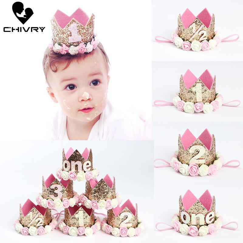 Chivry Toddler Infant Baby Kids Sequins Turban Birthday Party Crown Tiaras Hat Newborn Baby Boys Girls Headband Hair Accessories
