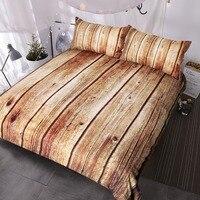 BlessLiving Wood Printed Bedding Set Queen 3 Piece Nature Textured Duvet Cover Vivid 3D Bed Set Striped Brown Bedspreads