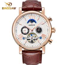 цена BINSSAW 2018 New Men Automatic Mechanical Watch Tourbillon Leather Business Classic Moon Phase Sports Watches Relogio Masculino онлайн в 2017 году