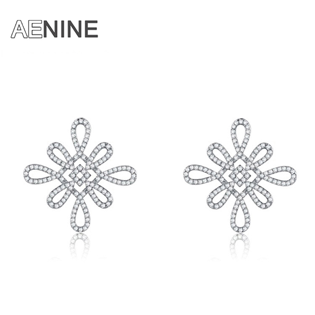 AENINE Stud earrings rose gold plated Austrian crystals Chinese knot statement earrings cz diamond fashion jewelry 1021291