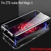 Luxury Magnetic Adsorption Case For ZTE nubia Red Magic 3 Metal Frame Clear Tempered Glass For ZTE nubia Red Magic3 NX629J