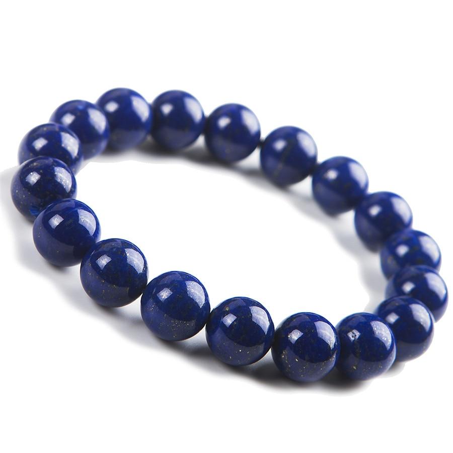 11.5 мм натурального Синий Лазурит драгоценного камня круглый браслет из бисера Для женщин Femme очарование растянуть браслет только один