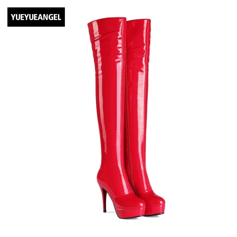 New Fashion Women Shoes Side Zipper Round Toe Comfortable Breathable For Women High Heel Shoes Lady Sexy Over The Knee Boots Red qiu dong in fashionable boots sexy and comfortable women s shoes the new national style high heel heel thick heel