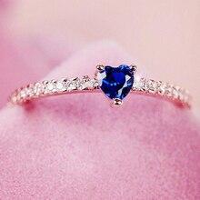 Двойные Свадебные Кольца для женщин, романтический милый в форме сердца, голубой Фианит, 3 цвета, вечерние, модные ювелирные изделия, KAR355