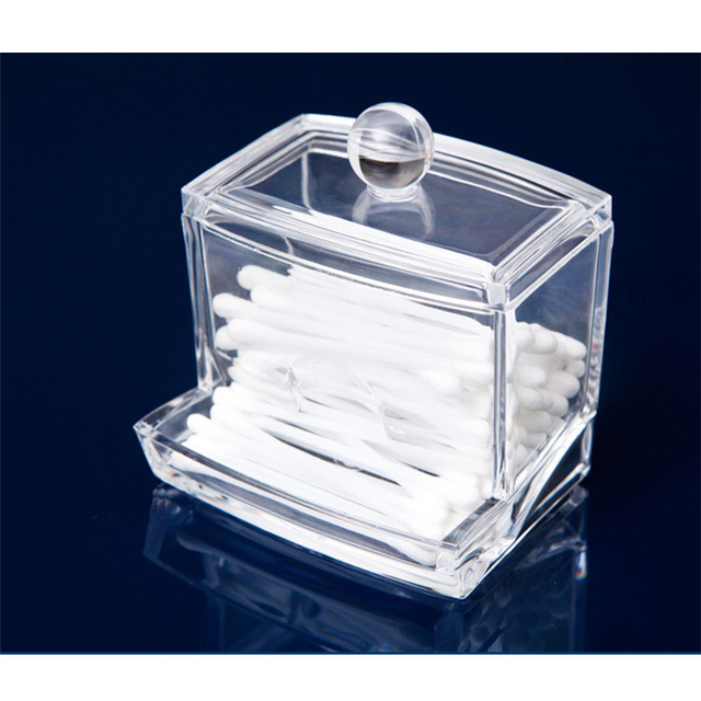 New Creative Clear Acrylic Q Tip Storage Holder Box Transparent Cotton  Swabs Stick Cosmetic Makeup