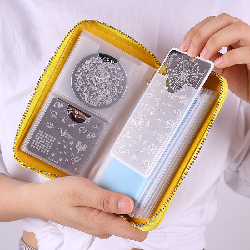 Born Pretty 24 Slots Empty Nail Stamping Plates Holder Case Yellow Smiling Face Manicure Nail Art Plate Organizer