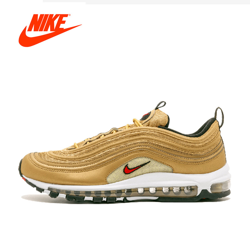 Original New Arrival Official NIKE AIR MAX 97 Metallic Gold Breathable Men's Running Shoes Sports Sneakers classic 3M Reflective 2017brand sport mesh men running shoes athletic sneakers air breath increased within zapatillas deportivas trainers couple shoes