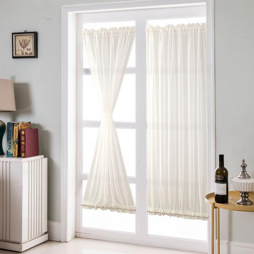 white french door curtains blackout patio door glass door curtain panel for privacy 1pcs 64x183cm