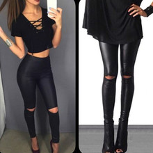 bf7d1c679d0d04 2019 New Spring Summer Pants Women Breathable Slim Comfortable Joker Pencil  Faux Leather Knee Ripped Hole