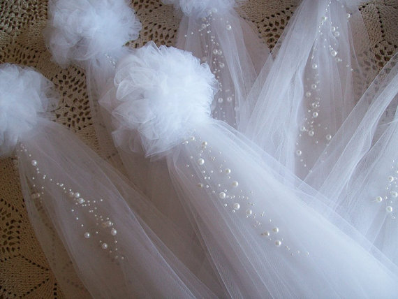 Pom pew bows tulle and pearl bows church pew pew bows aisle pom pew bows tulle and pearl bows church pew pew bows aisle junglespirit Choice Image
