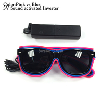 Double Color EL Wire Suglasses With Dark Lens Fashion Cool Glowing Glasses For Night Light DJ