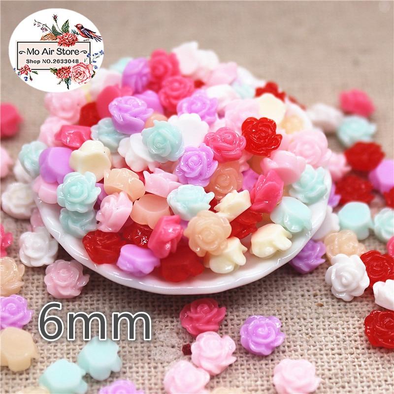 100pcs 6mm Mix Color Small Flower Resin Flatback Cabochon DIY Jewelry/phone/nail Art Decoration No Hole