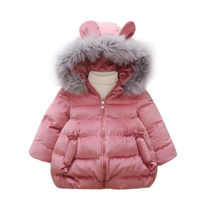 4178e2320 New Baby Girls Cotton Coat Winter Fashion Fur Collar Hooded Jacket ...