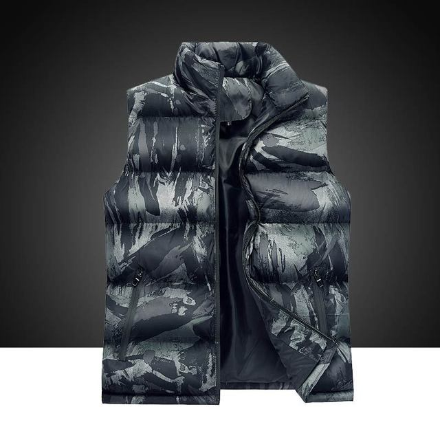 Casual Regular Standard Sleeveless Warm Simple Duck Feather Jacket Down Coat Mens ABC9839