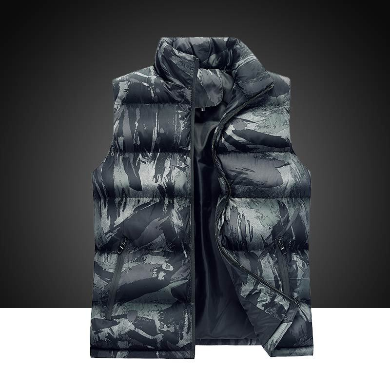 Down Jackets For Men Casual Regular Standard Camouflage Sleeveless Warm Simple Duck Feather Jacket Down Coat Mens ABC9839