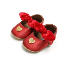 Red PU Baby Shoes Infant first walkers Bow soft soled Newborn Bebe Girls Sneaker Prewalker baby moccasins new year gift цены онлайн