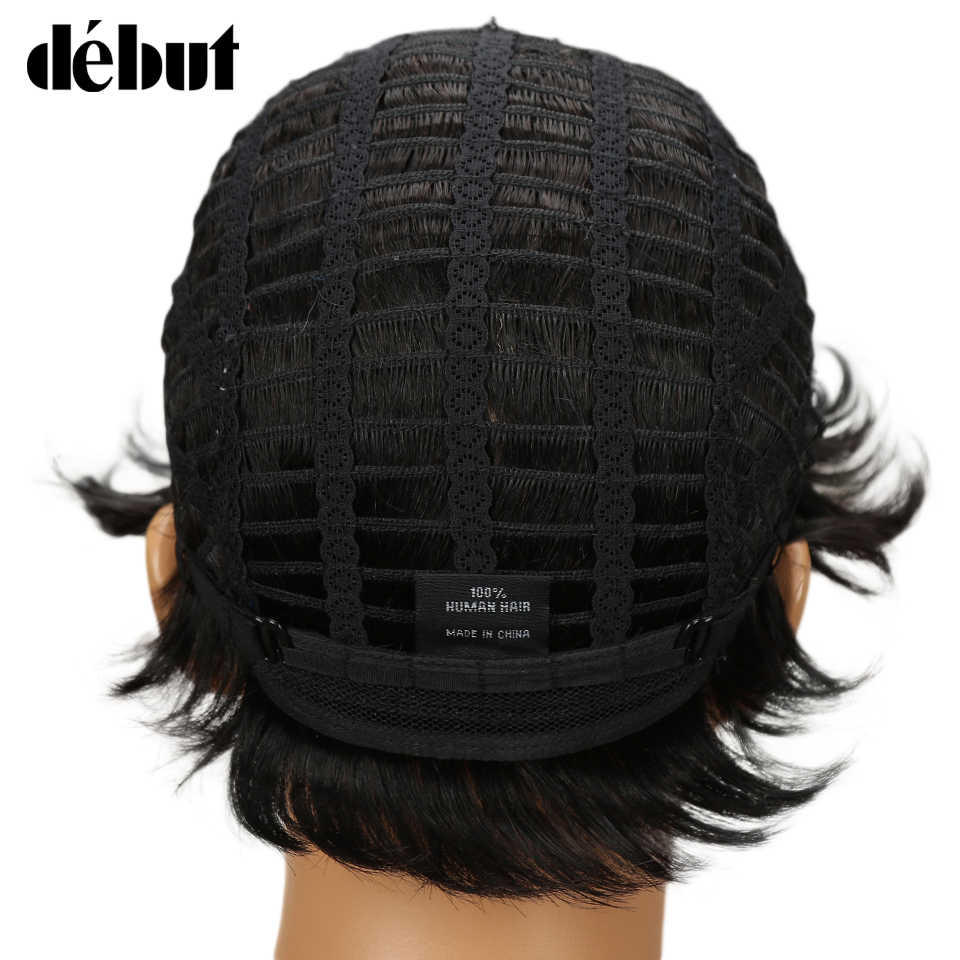 Дебютные парики для черных женщин Омбре человеческие волосы парик короткие влажные и волнистые человеческие волосы парики Remy человеческие парики Бесплатная доставка