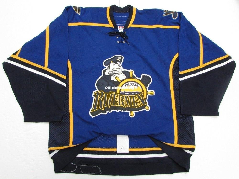 Peoria Rivermen Equipe Emitido Premier Azul Personalizado Duplo Costurado Jerseys