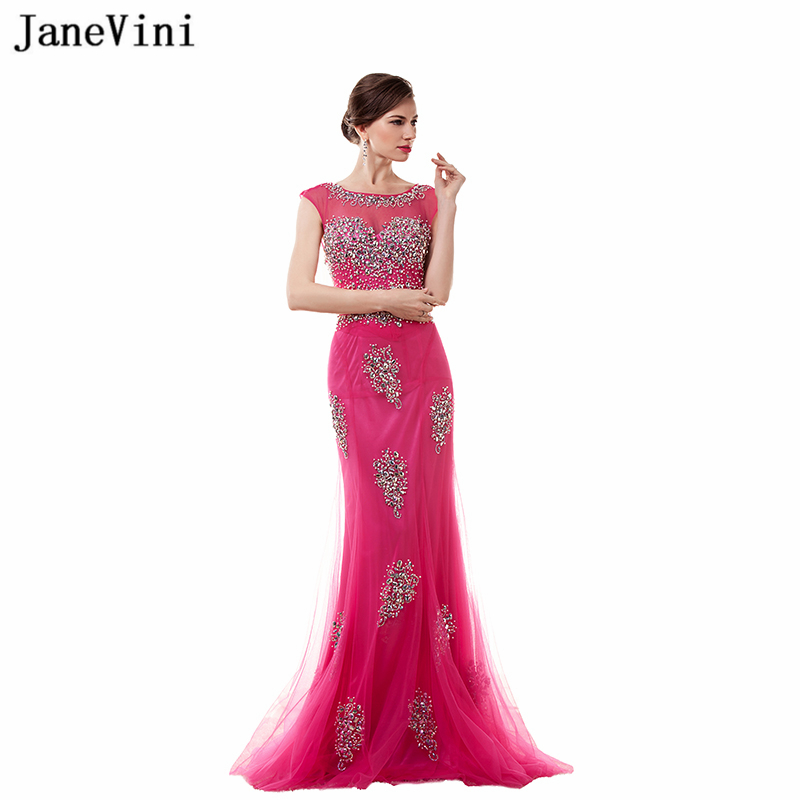 JaneVini Fuchsia Long   Bridesmaid     Dresses   Mermaid Sheer Scoop Neck Floor Length Prom Gowns with Beaded Tulle Formal Party Gowns