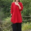 Sólido Blanco Negro Rojo Con Cuello En V manga Larga Blusa de Las Mujeres Kimono estilo de la Ropa de Algodón Camisa Larga Ocasional Flojo de La Blusa Camisas Tops 5093