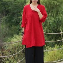 Насыщенный Белый Черный Красный V-образным Вырезом С Длинным рукавом Блузка Женщины Кимоно стиль Длинные Рубашки Хлопок Белье Свободные Повседневная Блузка Рубашки Топы 5093