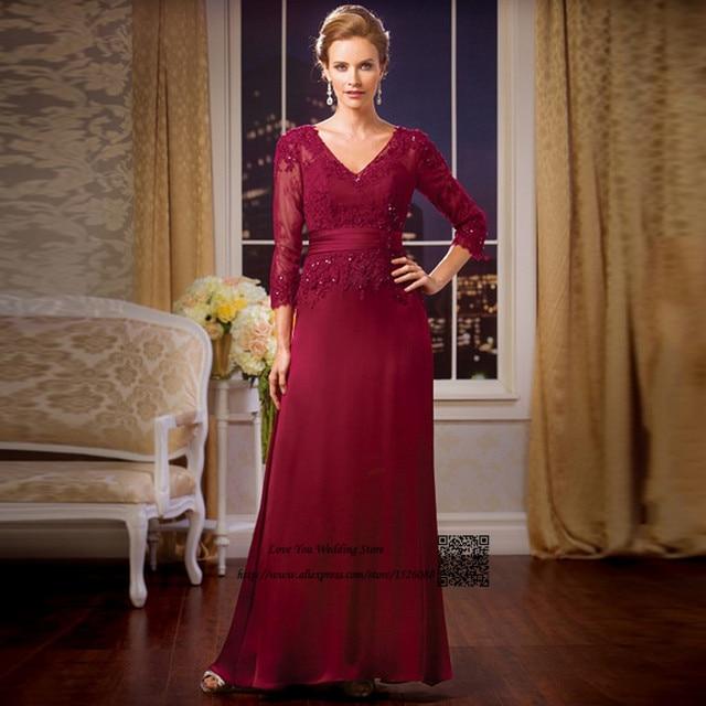 Plus Size Elegant Burgundy Mother Of The Bride Lace Dresses Formal