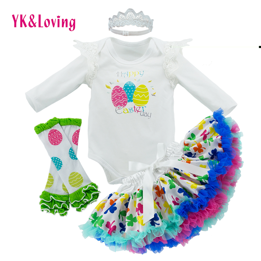 New Eggs Baby Clothing Sets for Easter Day Long Sleeve Romper with Tiny Wing Embroidery Design Girls Skirts Set as Easter Gifts new baby girl clothing sets infant easter romper tutu dress 2pcs set black girls rompers first birthday costumes festival sets