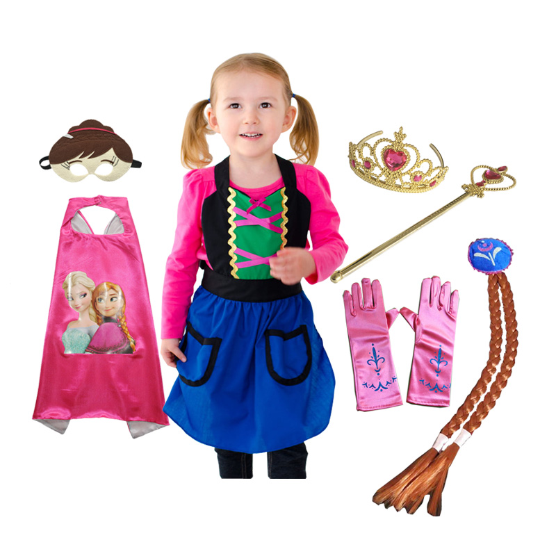 Anna Costume Apron Cape Mask Tiara Wand Glove Braid Kids Halloween Grils Birthday Cosplay Princess Dress Up