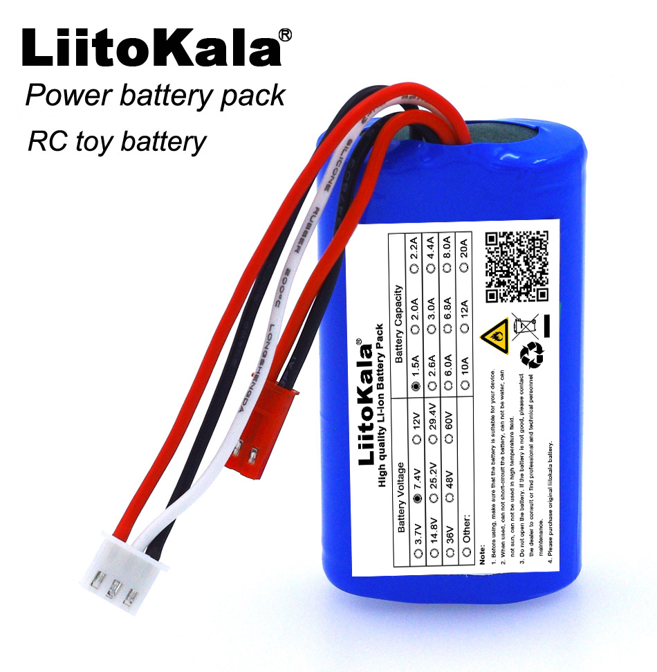 Liitokala New 7.4V 18650 Lithium Battery 1500mAh 8.4V Li-lon Rechargeable Batteries Aircraft Battery + Free Shipping