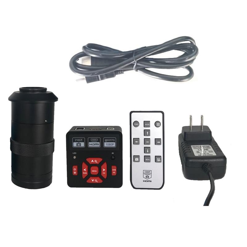 Full HD 21MP 1080P 60fps HDMI USB Digital Industry Video Microscope Camera TF Card Video Recorder