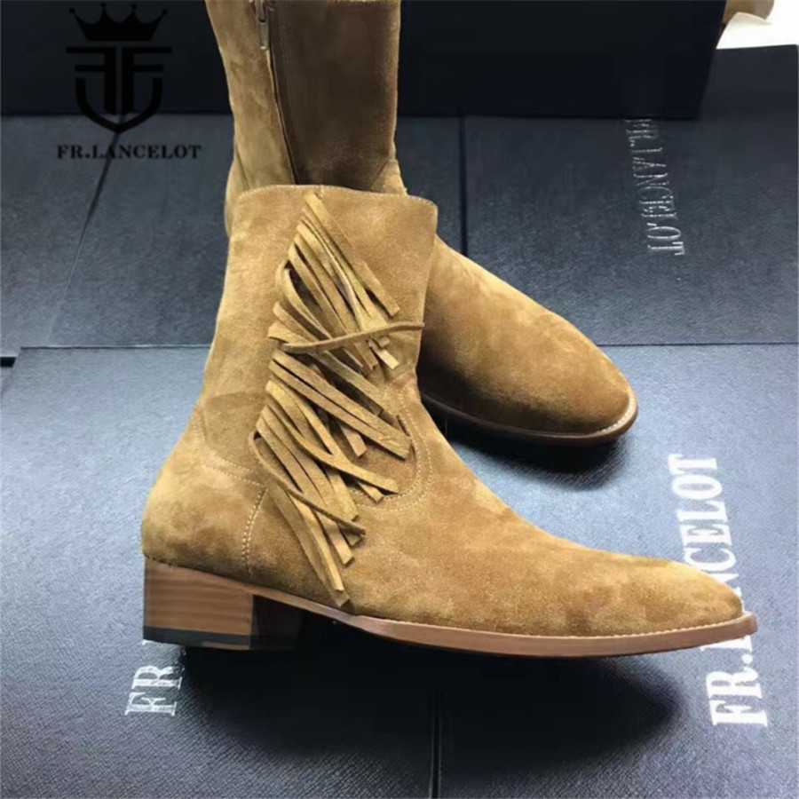 High End Customized High Top Personalized Suede Brown Genuine Leather Tassel Cowbody Martin Boots Wedge Zipper Chelsea Boots high end handmade customized high top luxury demin boots men genuine leather personalized suede folds chelsea boots