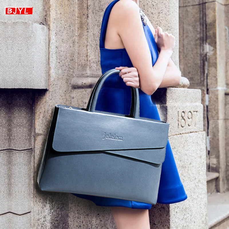 New Genuine Leather Women Briefcase Brand Business Computer Handbag Female Laptop Shoulder Messenger Bag Notebook Crossbody Bags