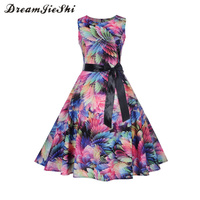 Dreamjieshi 2018 Vintage Summer Dress Print Floral A Line Women Cute Party Sleeveless Bow Tie Female