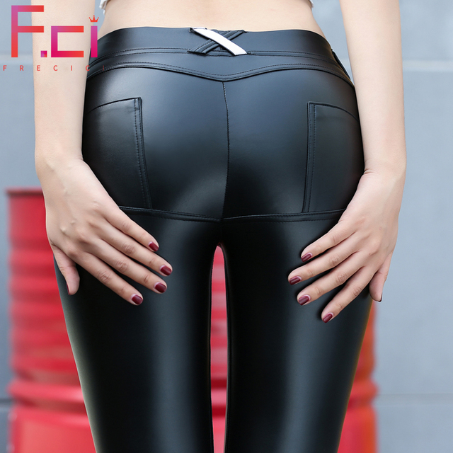 ad5eec6fbdba8c 2019 Sexy Matt PU leather Leggings for Women Low Waist Push Up Faux Leather  Pants Hip