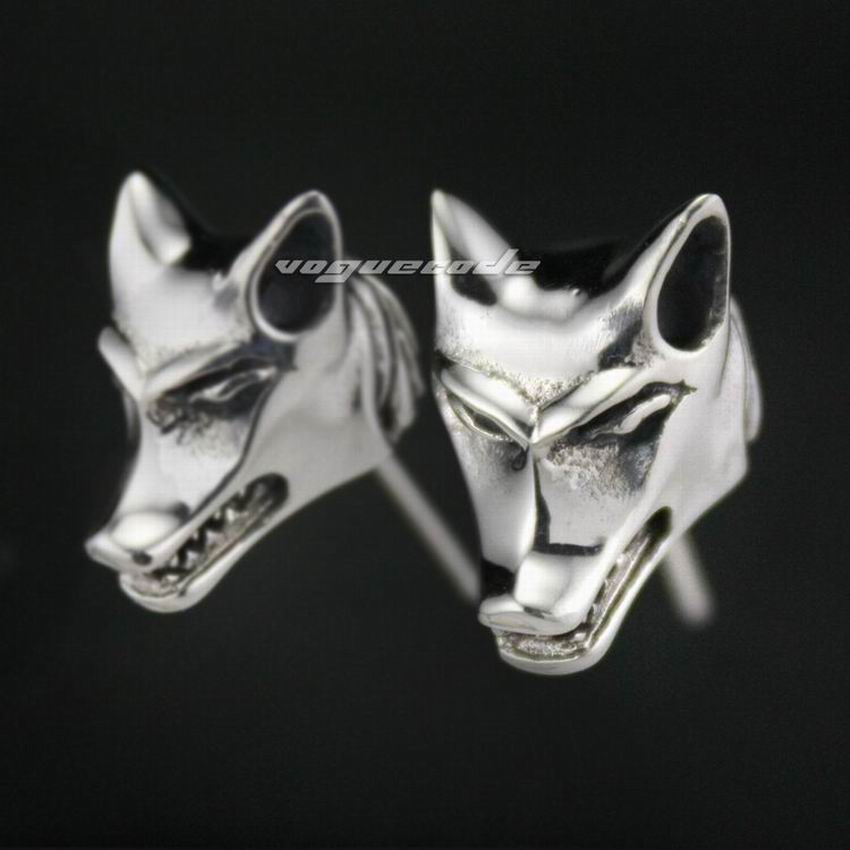 925 Sterling Silver Wolf Mens Biker Rock Punk Stud Earring 8M002 ( 2 Piece )