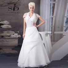 Wedding Dress 2016 SoDigne Custom Made With Delicate Appliques Halter Jacket Pleats Vestido De Noiva Romantic Lace A Line