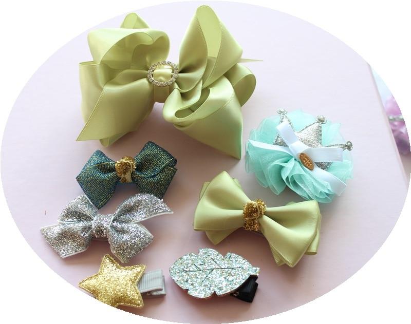 1 dəst yay qız uşaqları cute bowknot saç klipləri pin barrette - Geyim aksesuarları - Fotoqrafiya 5