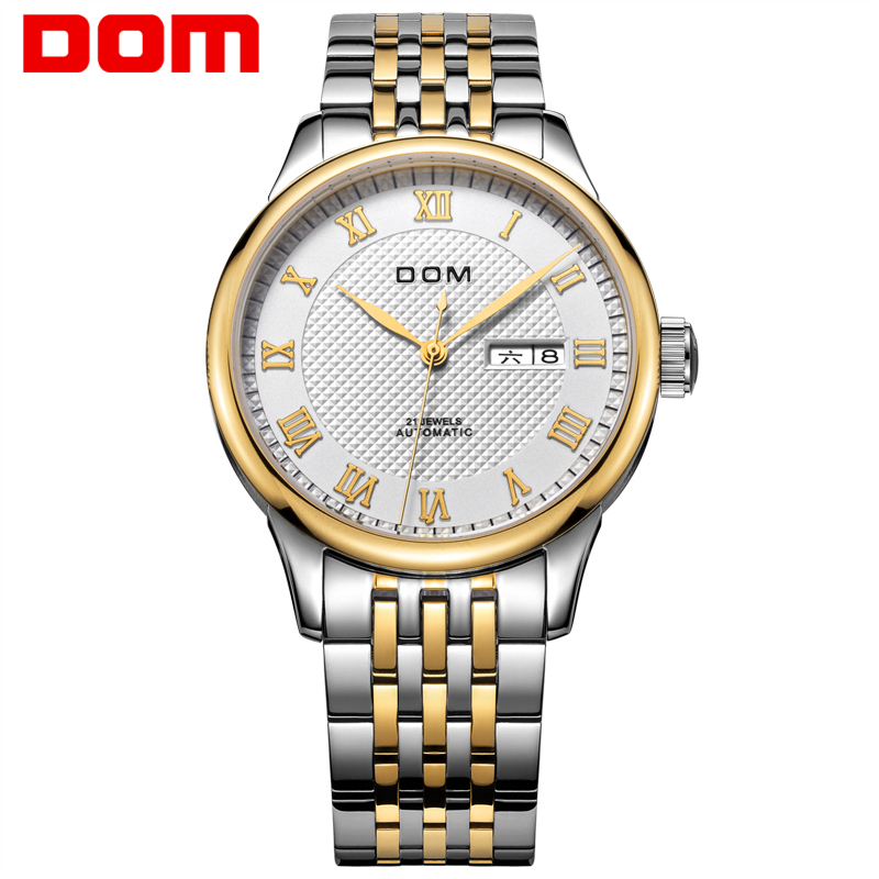 Men Watches DOM Luxury Mechanical Stainless Steel Watch Hot Brand Gold Business Waterproof Wristwatch reloj Masculino M-59G7M hollow brand luxury binger wristwatch gold stainless steel casual personality trend automatic watch men orologi hot sale watches