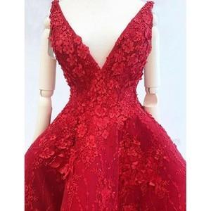 Image 2 - Stunning Evening Dresses Appliques abiye Formal Gowns Vestido Longo Appliques Hi Low Evening Dress Red robe de soiree