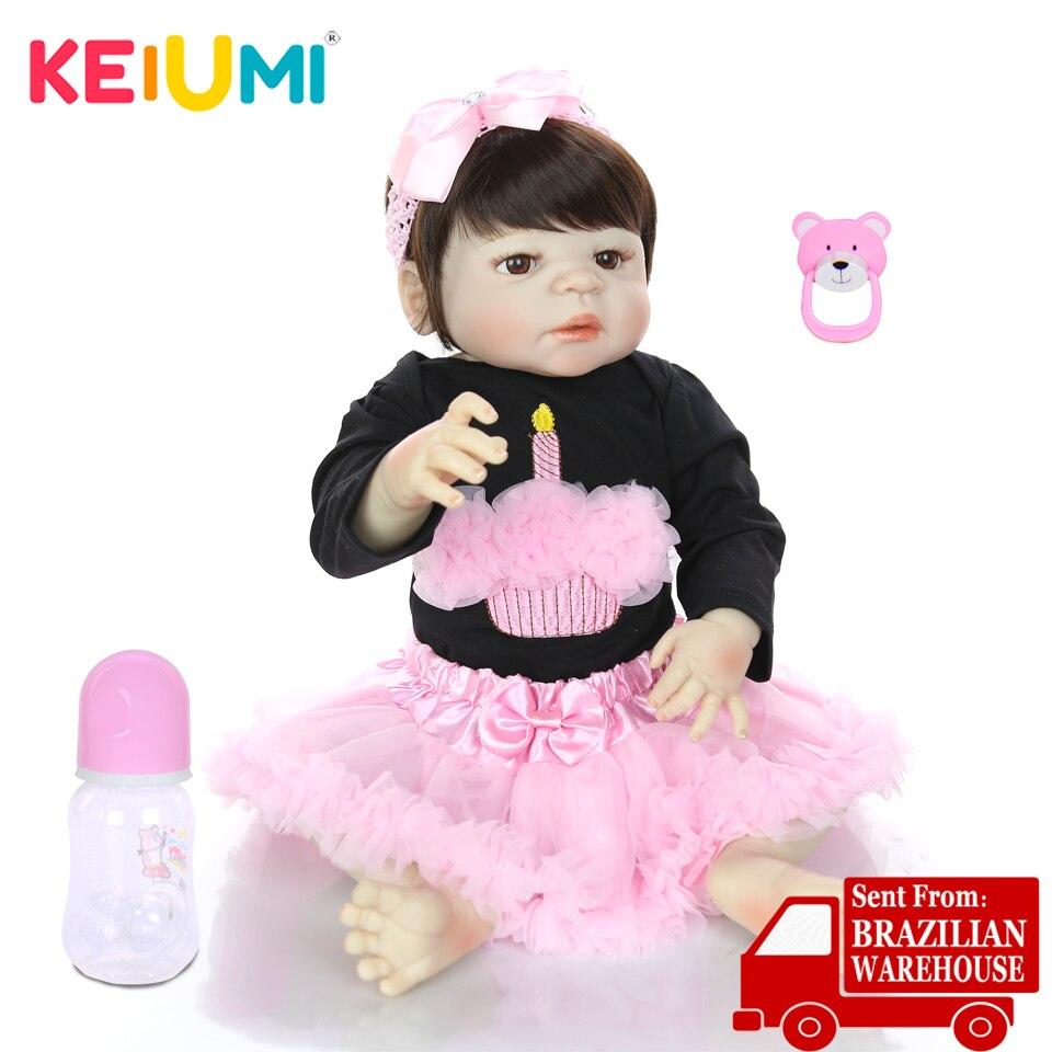 KEIUMI Handmade Full Vinyl Silicone Reborn Menina Lifelike 23 Princess Reborn Baby Doll Can Bathe Kids