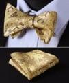 BFC002YS Yellow Gold Brown Floral Bowtie Men Silk Self Bow Tie handkerchief set