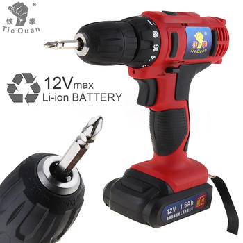 AC 100 - 240V Cordless 12V Electric Drill / Screwdriver with 18 Gear Torque and Two-speed Adjustment Button with battery voto ac 100 240v cordless 12v electric drill screwdriver with adjustment switch and two speed adjustment button for punching