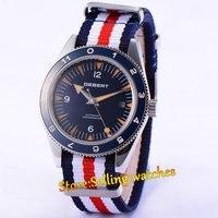 41 MILÍMETROS Debert Mostrador Azul relógios de Pulso Marcas Luminosas Data Relógio Cinta de Nylon Mens Automatic Assista Relogio masculino