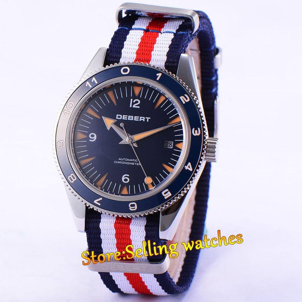41MM Debert Wristwatches Blue Dial Luminous Marks Watch Date Nylon Strap Mens Automatic Watch Relogio Masculino все цены