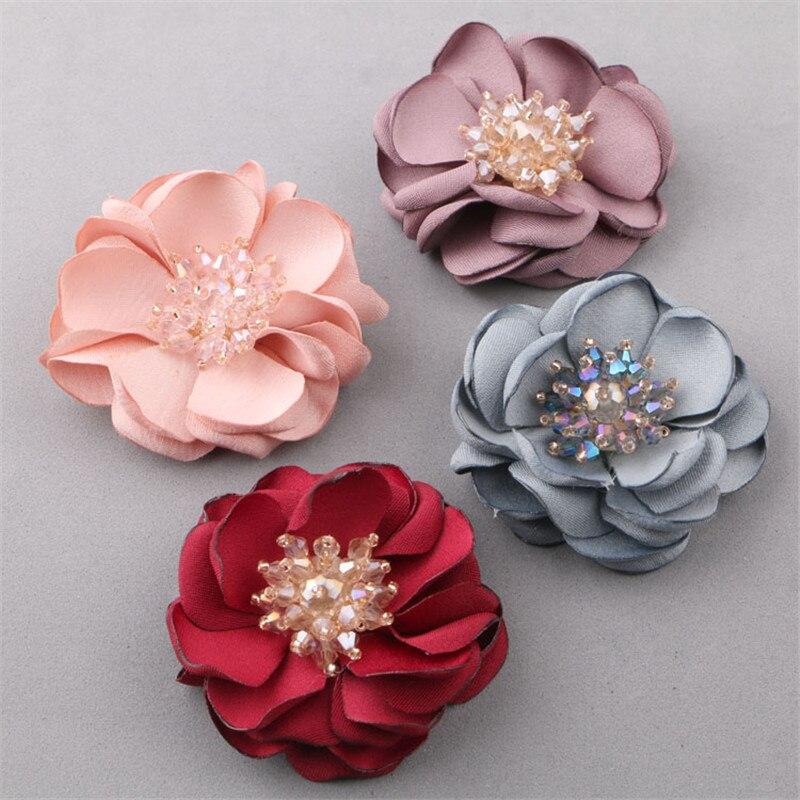 New 10PCs/Lot Crystal Rhinestone Core Fabric Chiffon Flowers Floral Handmade Patch Sticker Craft Fit Girls Hair Jewelry Clip DIY все цены