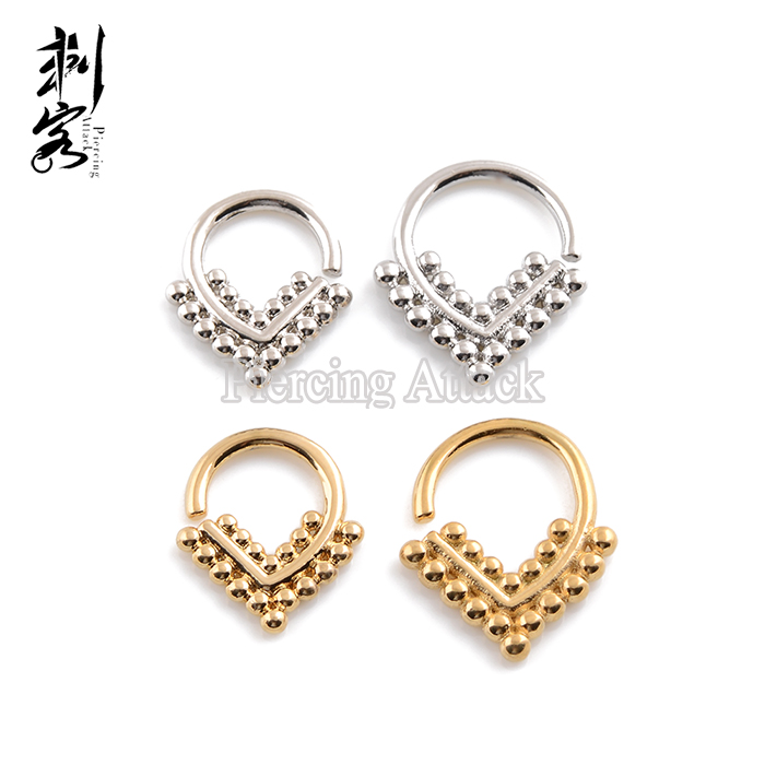 Brass Triangle Shape 16G Tribal Indian Nose Piercing Jewelry Septum Clicker